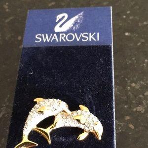 Swarovski dolphins pin